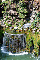 The oval fountain, 1567, Villa d'Este, Tivoli, Italy - Unesco World Heritage Site.