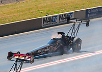 Jul 21, 2019; Morrison, CO, USA; NHRA top fuel driver Mike Salinas during the Mile High Nationals at Bandimere Speedway. Mandatory Credit: Mark J. Rebilas-USA TODAY Sports