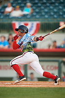 Florida Fire Frogs shortstop Ray-Patrick Didder (13) follows through on a swing during a game against the St. Lucie Mets on April 19, 2018 at Osceola County Stadium in Kissimmee, Florida.  St. Lucie defeated Florida 3-2.  (Mike Janes/Four Seam Images)