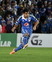 BOGOTA- COLOMBIA -19 -02-2014: Harrison Otalvaro, jugador de Millonarios durante partido de la sexta fecha de la Liga Postobon I 2014, jugado en el Nemesio Camacho El Campin de la ciudad de Bogota. / Harrison Otalvaro, player of Millonarios during a match for the sixth date of the Liga Postobon I 2014 at the Nemesio Camacho El Campin Stadium in Bogota city. Photo: Luis Ramirez / Staff