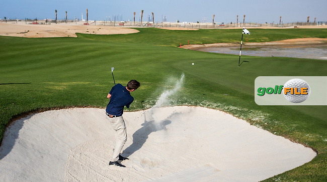 View of the rear bunker on the 6th at Al Zorah Golf Club, Dubai, United Arab Emirates.  26/01/2016. Picture: Golffile | David Lloyd<br /> <br /> All photos usage must carry mandatory copyright credit (&copy; Golffile | David Lloyd)