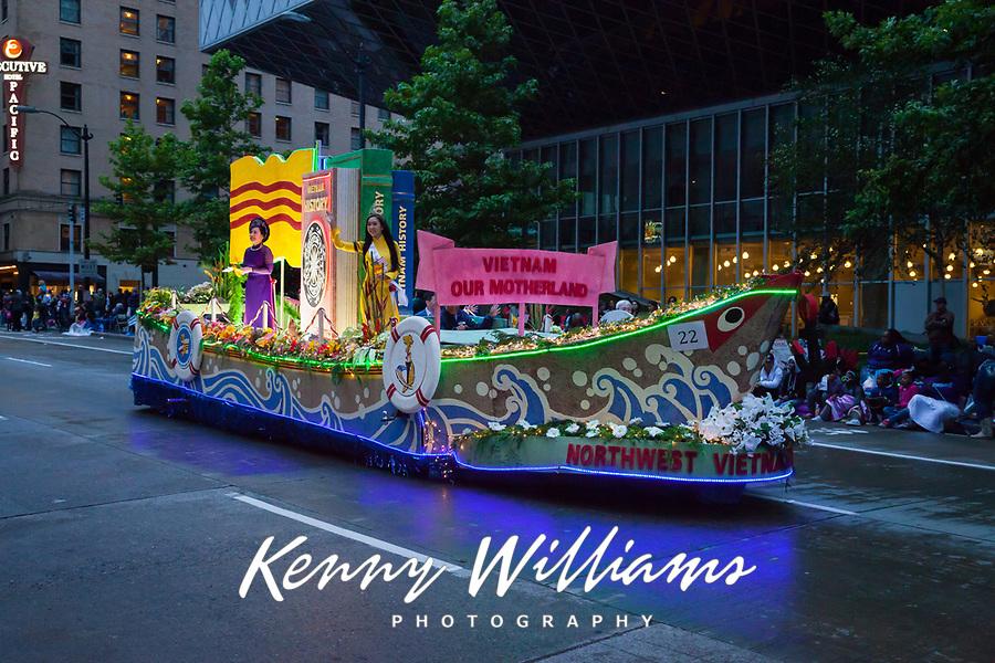 Vietnam Boat Float, Seafair Torchlight Parade 2015, Seattle, Washington State, WA, America, USA.