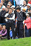Rory McIlroy and Graeme McDowell on the 16th green on day two Foursomes matches  on saturday afternoon at the 2010 Ryder Cup at the Celtic Manor twenty ten course, Newport Wales, 2/10/2010.Picture Fran Caffrey/www.golffile.ie.