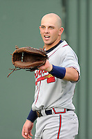 Catcher Chase Anselment (37) of the Rome Braves before a game against the Greenville Drive on Tuesday, August 20, 2013, at Fluor Field at the West End in Greenville, South Carolina. Rome won, 4-2. (Tom Priddy/Four Seam Images)