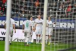 06.10.2019, Commerzbankarena, Frankfurt, GER, 1. FBL, Eintracht Frankfurt vs. SV Werder Bremen, <br /> <br /> DFL REGULATIONS PROHIBIT ANY USE OF PHOTOGRAPHS AS IMAGE SEQUENCES AND/OR QUASI-VIDEO.<br /> <br /> im Bild: Davy Klaassen (SV Werder Bremen #30) jubelt ueber sein Tor zum 0:1, mit dabei Josh Sargent (SV Werder Bremen #19), Marco Friedl (SV Werder Bremen #32), Milot Rashica (SV Werder Bremen #7), Leonardo Bittencourt (SV Werder Bremen #10)<br /> <br /> Foto © nordphoto / Fabisch