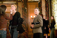 "8 May 2006 - North Bergen, NJ - Actresses Leslie Caron (3L) prepares for a scene as Connie Nielsen (2L) and Diane Neal (2R) get hair and makeup retouches while lily Rabe (R) waits on the studio set of television show ""Law & Order: SVU"" in North Bergen, USA, 8 May 2006. In this rare appearance in front of American television cameras, Caron, 74, plays a French victim of past sexual molestation in an episode entitled ""Recall"" due to air in the fall. Caron starred in Hollywood classics such as ""An American in Paris"" (1951), ""Lili"" (1953), ""Gigi"" (1958). More recently she appeared in ""Chocolat"" (2000) and ""Le Divorce"" (2003). Photo Credit: David Brabyn"