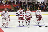 John Riley (Harvard - 1), David Valek (Harvard - 22), Alex Biega (Harvard - 3), Eric Kroshus (Harvard - 10) - The Boston College Eagles defeated the Harvard University Crimson 3-2 on Wednesday, December 9, 2009, at Bright Hockey Center in Cambridge, Massachusetts.