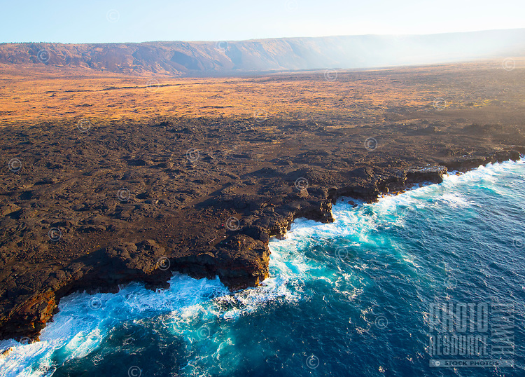 Aerial view of the southeastern coastline of Hawaii Island.