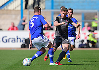 Lincoln City's Shay McCartan is fouled by Carlisle United's Anthony Gerrard<br /> <br /> Photographer Chris Vaughan/CameraSport<br /> <br /> The EFL Sky Bet League Two - Carlisle United v Lincoln City - Friday 19th April 2019 - Brunton Park - Carlisle<br /> <br /> World Copyright © 2019 CameraSport. All rights reserved. 43 Linden Ave. Countesthorpe. Leicester. England. LE8 5PG - Tel: +44 (0) 116 277 4147 - admin@camerasport.com - www.camerasport.com