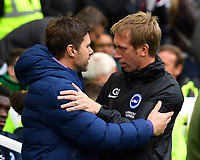 Tottenham Hotspur Manager Mauricio Pochettino and Brighton & Hove Albion Manager Graham Potter embrace each other before kick off during Brighton & Hove Albion vs Tottenham Hotspur, Premier League Football at the American Express Community Stadium on 5th October 2019