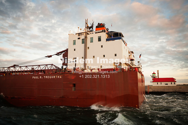 The freighter Paul R. Tregurtha leaves Duluth, Minnesota and steams out to Lake Superior.
