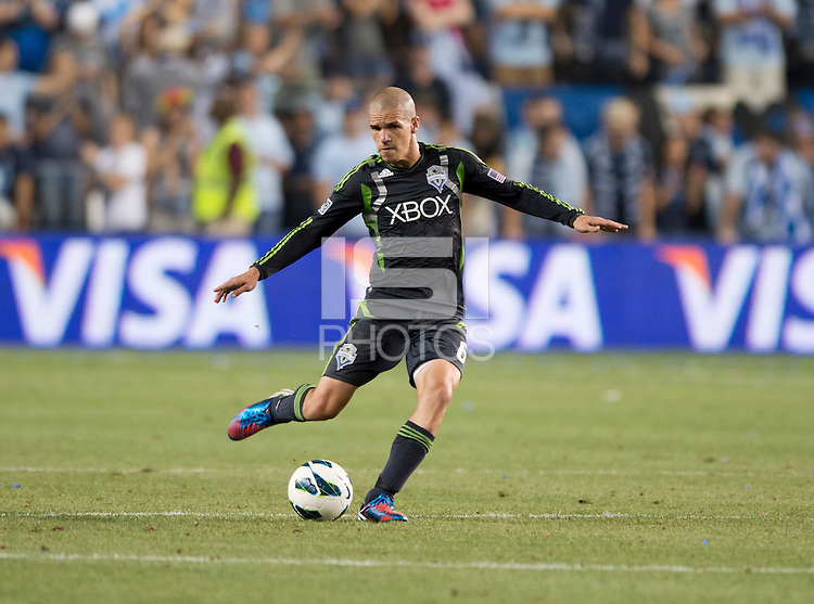 Osvaldo Alonso. Sporting Kansas City won the Lamar Hunt U.S. Open Cup on penalty kicks after tying the Seattle Sounders in overtime at Livestrong Sporting Park in Kansas City, Kansas.