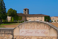 The winery and a stone wall inscribed with Chateau Canon 1er premier first grand cru classe  Saint Emilion  Bordeaux Gironde Aquitaine France