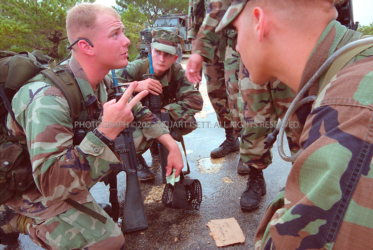 9/25/01--Okinawa, Japan..US marines in training in the hills of Okinawa....All photographs ©2003 Stuart Isett.All rights reserved.This image may not be reproduced without expressed written permission from Stuart Isett.