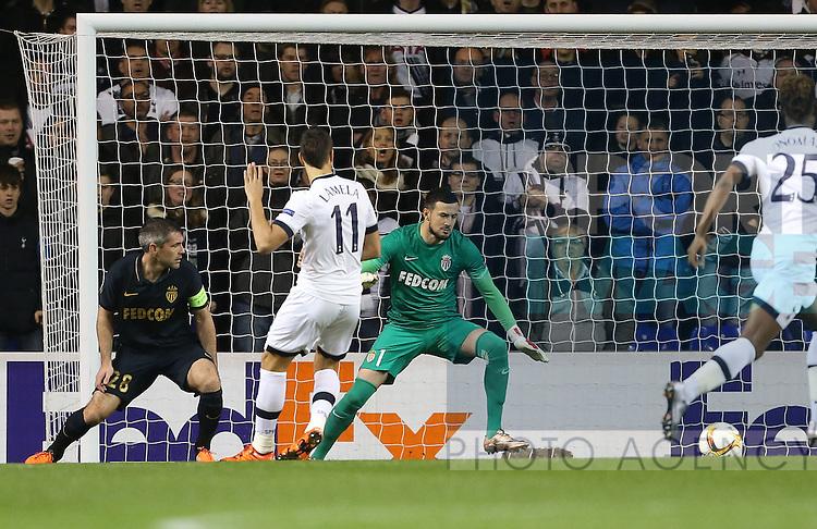 Tottenham's Erik Lamela scoring his sides opening goal<br /> <br /> UEFA Europa League - Tottenham Hotspur v Monaco - White Hart Lane - England -10th December 2015 - Picture David Klein/Sportimage