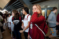 Stanford, CA -- January 28, 2012: Alex McCawley, Kasey Quon andAnna Boyle during Buddy Day held  Saturday afternoon as part of Stanford vs. Cal Women's Basketball game at Maples Pavilion at Stanford.<br /> <br /> Stanford defeat Cal 74-71 in overtime.