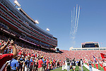 LINCOLN, NE - SEPTEMBER 21, 2013:  A formation of vintage aircraft soar above Memorial Stadium in Lincoln, NE prior to the start of the South Dakota State University Jackrabbits at the Nebraska Cornhuskers college football game Saturday.  (Photo by Dick Carlson/Inertia)