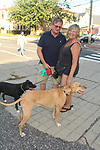 Guiding Light and OLTL's Kim Zimmer and husband AC Weary (OLTL) walk their dogs  before the play The Shuck  at the Cape May Stage in Cape May, New Jersey. (Photo by Sue Coflin/Max Photo)