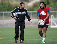 Assistant coach Wayne Smith with Ma'a Nonu. All Blacks Training Session at Te Whaea, Wellington, New Zealand on Tuesday, 5 July 2011. Photo: Dave Lintott / lintottphoto.co.nz