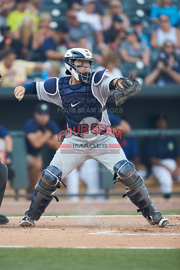 Charleston RiverDogs catcher Donny Sands (15) makes a throw to second base against the Columbia Fireflies at Spirit Communications Park on June 9, 2017 in Columbia, South Carolina.  The Fireflies defeated the RiverDogs 3-1.  (Brian Westerholt/Four Seam Images)