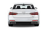 Straight rear view of 2019 Audi A6 S-Line 4 Door Sedan Rear View  stock images