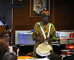 "African Drummer, Juma Sultan, performing at the ""An Evening of Real History"" event, at the A.J. Williams-Myers African Roots Center, in Kingston, NY, on Saturday, July 29, 2017. Photo by Jim Peppler. Copyright/Jim Peppler-2017."