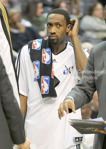 Washington, DC - January 2, 2010 -- Washington Wizards guard Gilbert Arenas (0) scratches his head during a break in the action in the fourth quarter against the San Antonio Spurs at the Verizon Center in Washington, D.C. on Saturday, January 2, 2010.  The Spurs won the game 97 - 86..Credit: Ron Sachs / CNP..(RESTRICTION: NO New York or New Jersey Newspapers or newspapers within a 75 mile radius of New York City)
