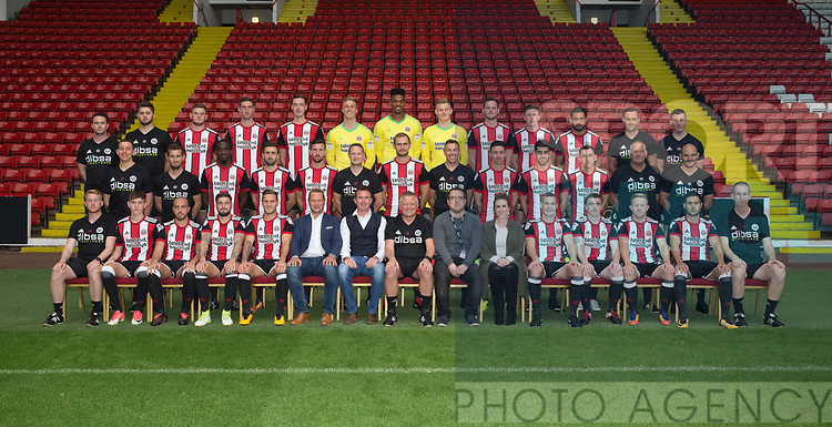 Sheffield Utd team group with sponsor Doordeals during the 2017/18 Photocall at Bramall Lane Stadium, Sheffield. Picture date 7th September 2017. Picture credit should read: Sportimage