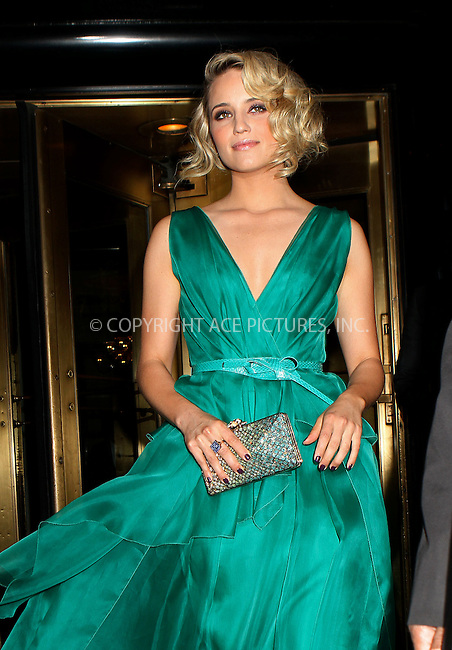 WWW.ACEPIXS.COM . . . . .  ....May 7 2012, New York City....Dianna Agron leaving a hotel on the way to the Met Gala on May 7 2012 in New York City....Please byline: NANCY RIVERA- ACEPIXS.COM.... *** ***..Ace Pictures, Inc:  ..Tel: 646 769 0430..e-mail: info@acepixs.com..web: http://www.acepixs.com