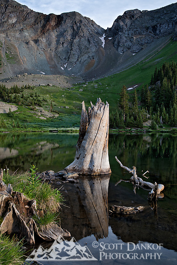A 4x4 trail leads to a quiet lake in Gold King Basin near Telluride, Colorado.