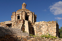Ruined Spanish colonial chapel Capilla del Refugio in the 19th century mining town of Mineral de Pozos, Guanajuato, Mexico.