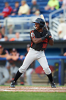 Aberdeen Ironbirds third baseman Kirvin Moesquit (10) at bat during a game against the Batavia Muckdogs on July 16, 2016 at Dwyer Stadium in Batavia, New York.  Aberdeen defeated Batavia 9-0. (Mike Janes/Four Seam Images)