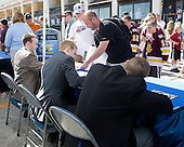 Jack Connolly (UMD), Spencer Abbott (Maine), Austin Smith (Colgate) - The members of the Hobey Hat Trick joined the Boston College Eagles and Ferris State Bulldogs at an autograph signing at Channelside Bay Plaza on Friday, April 6, 2012, in Tampa, Florida.