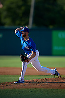 Dunedin Blue Jays starting pitcher Justin Dillon (25) during a Florida State League game against the Clearwater Threshers on May 11, 2019 at Jack Russell Memorial Stadium in Clearwater, Florida.  Clearwater defeated Dunedin 9-3.  (Mike Janes/Four Seam Images)