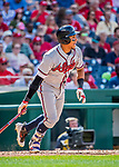 8 July 2017: Atlanta Braves infielder Johan Camargo in action against the Washington Nationals at Nationals Park in Washington, DC. The Braves shut out the Nationals 13-0 to take the third game of their 4-game series. Mandatory Credit: Ed Wolfstein Photo *** RAW (NEF) Image File Available ***