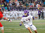 Jakob Patterson (#17) works against the Richmond defense as UAlbany Men's Lacrosse defeats Richmond 18-9 on May 12 at Casey Stadium in the NCAA tournament first round.