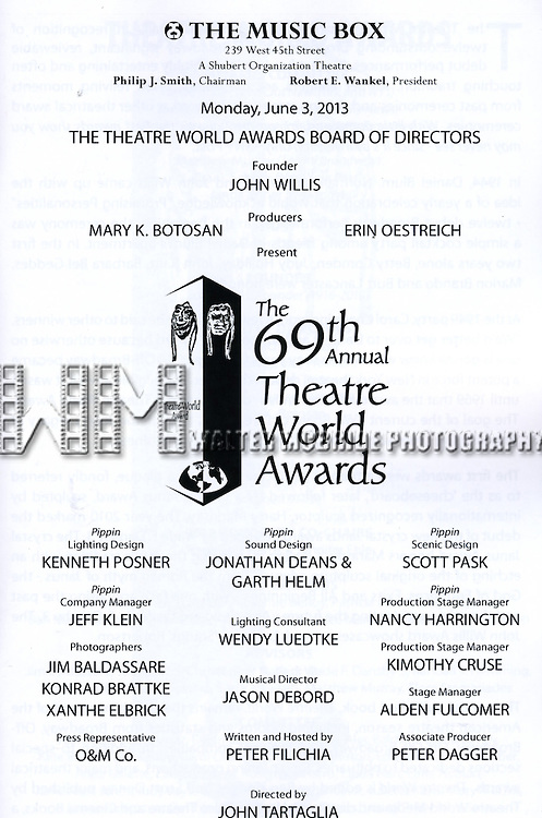 Program during the 69th Annual Theatre World Awards Presentation at the Music Box Theatre in New York City on June 03, 2013.