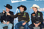 Guilherme Marchi and JB Mauney at the press conference before the Iron Cowboy V event at the AT & T stadium in Arlington, Texas.