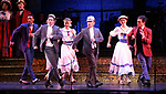 "Clyde Alves and Joel Grey with cast during the final performance curtain call for the New York City Center Encores! at 25 production of  ""Hey, Look Me Over!"" on February 11, 2018 at the City Center Theatre in New York City."