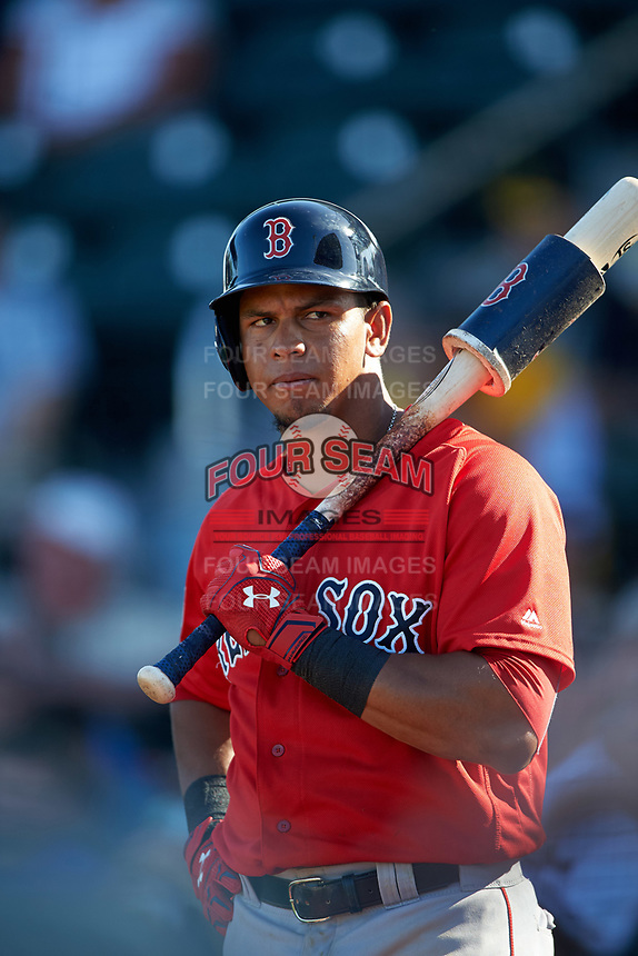 Boston Red Sox shortstop Marco Hernandez (79) on deck during a Spring Training game against the Pittsburgh Pirates on March 9, 2016 at McKechnie Field in Bradenton, Florida.  Boston defeated Pittsburgh 6-2.  (Mike Janes/Four Seam Images)