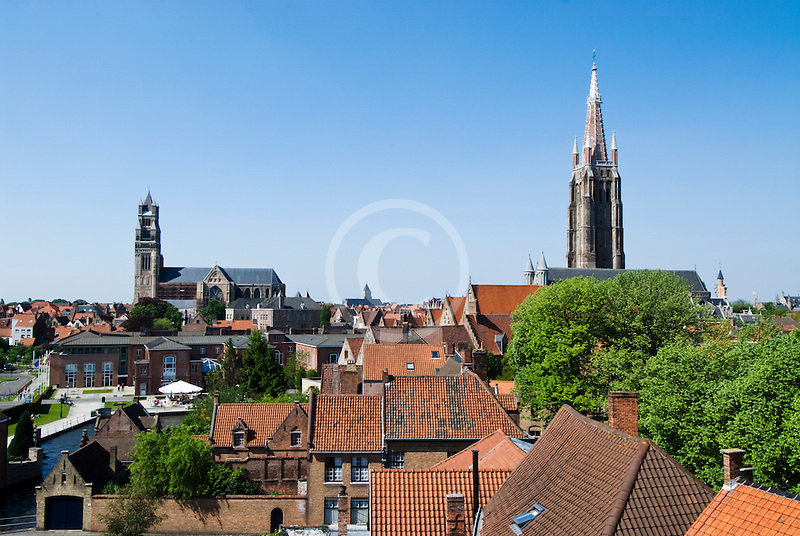 Belgium, Bruges, View over town rooftops towards the Church of Our Lady, Onze-Lieve-Vrouwekerk