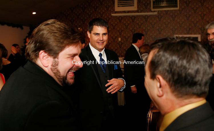 Naugatuck, CT-07 November 2009-110709CM09--  Naugatuck Mayor Bob Mezzo, shares a laugh with Charles Marenghi during his Innaugural Saturday night.    <br /> Christopher Massa Republican-American