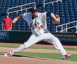 Reno Aces relief pitcher Sam Demel throws against the Sacramento River Cats during their play off game played on Sunday afternoon, September 9, 2012 in Reno, Nevada.