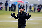 Thidapa Suwannapura in the rain. McKayson NZ Women's Golf Open, Round Four, Windross Farm Golf Course, Manukau, Auckland, New Zealand, Sunday 1st October 2017.  Photo: Simon Watts/www.bwmedia.co.nz