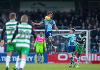 Sido Jombati of Wycombe Wanderers controls the ball during the Sky Bet League 2 match between Wycombe Wanderers and Yeovil Town at Adams Park, High Wycombe, England on 14 January 2017. Photo by Andy Rowland / PRiME Media Images.