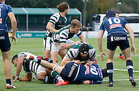 Ealing's Alexander Penney keeps tabs on Bedford's Joshua Buggea during the Greene King IPA Championship match between Ealing Trailfinders and Bedford Blues at Castle Bar , West Ealing , England  on 29 October 2016. Photo by Carlton Myrie / PRiME Media