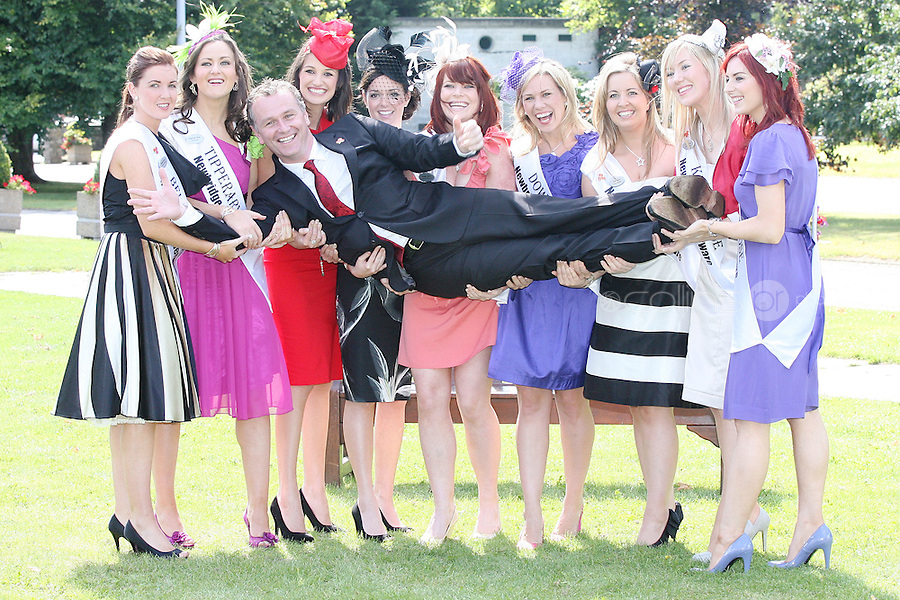 17/8/2010. 2010 Rose of Tralee visit RTE. Dáithí O Sé is pictured with the Irish Roses, Belfast Frances Rafferty, Tipperary Lynda Kelly,  Carlow Jessica Adamson, Laois Bernadette Ryan, Dublin Rose Niamh Sherlock, Down Gemma Murphy, The Cork Rose Laura Mitchell, Kerry Veronica Hunt and Litrim Rose Martha Gilheaney at the RTÉ studios in Donnybrook Dublin. The Rose of Tralee International Festival, which runs from Friday 20th to Tuesday 24th of August, culminates in the live televised International Rose Selection on RTÉ One, hosted for the first time by Dáithí O Sé. The show will be broadcast from 8pm on Monday and Tuesday the 23rd and 24th of August, with a break for the Nine O' Clock News on both nights. The show will also be streamed live around the world at www.rte.ie. Picture James Horan/Collins Photos