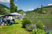 Deutschland, Rheinland-Pfalz, Moseltal, Campingplatz gegenueber von Beilstein an der Mosel mit Burg Metternich | Germany, Rhineland-Palatinate, Moselle Valley, campground on the opposite bank of Beilstein with castle Metternich at river Moselle