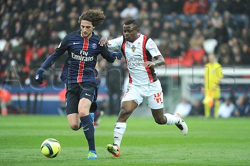 02.04.2016. Paris, France. French League 1 football. Paris St Germain versus Nice.  Jean Michael SERI (nice) chases down ADRIEN RABIOT (psg)