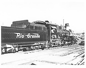 3/4 engineer's-side view of D&amp;RGW #478 at Durango.  The phony diamond stack is in place.<br /> D&amp;RGW  Durango, CO